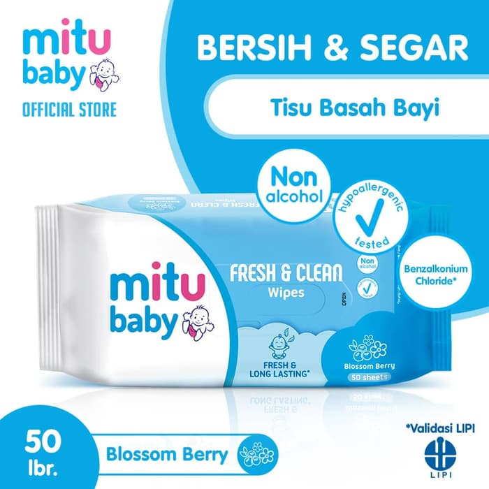 Tisu Tissue Bayi Basah Isi 50 Sheets Pack Biru Longlasting And Clean