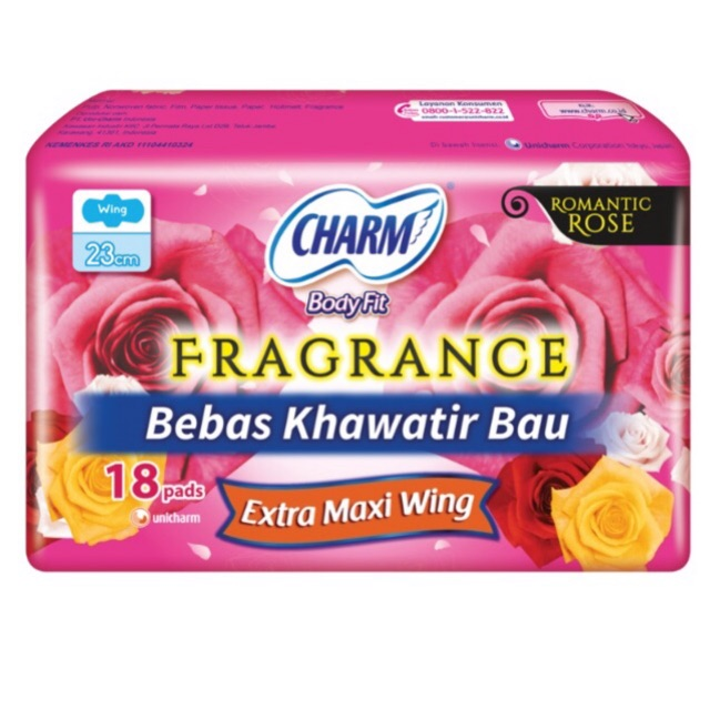 Charm Pembalut Wanita Charm Bodyfit Fragrance Isi 18 Pads Extra Maxi Wing - A