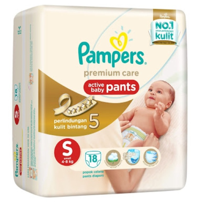 Pampers Bayi Premium Care Active Baby Pants Size S Isi 18 Pcs - A